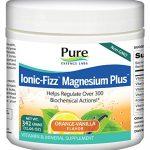 Pure Essence Labs Ionic Fizz Magnesium Plus – Calm Sleep Aid and Natural Anti Stress Supplement Powder – Orange Vanilla – 12.06oz