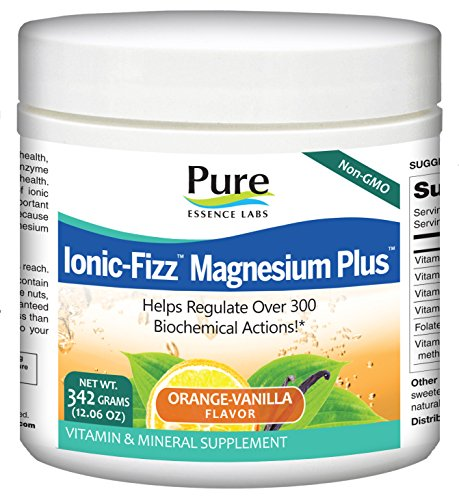 Pure Essence Labs Ionic Fizz Magnesium Plus - Calm Sleep Aid and Natural Anti Stress Supplement Powder - Orange Vanilla - 12.06oz