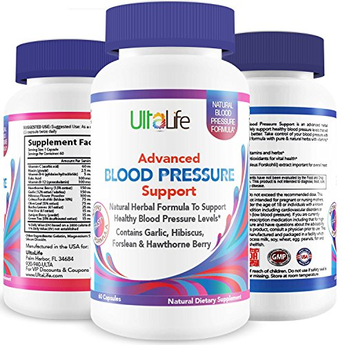 BEST HIGH BLOOD PRESSURE PILLS to Lower BP Naturally - Advanced Hypertension Supplement w/ Potent Vitamins & Herbs - Garlic, Hawthorn Berry & Forskolin for Stress Reduction & Heart Health