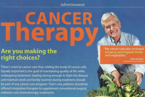 cancer advertising man with vegetables