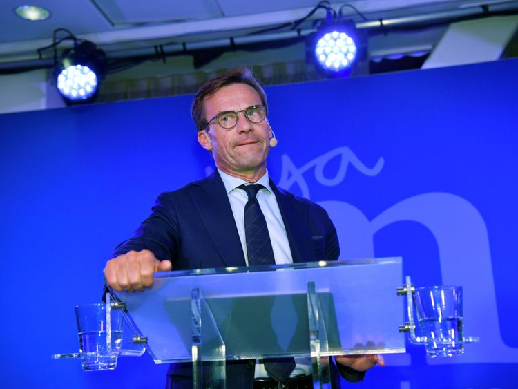 The Moderaterna party leader Ulf Kristersson speaks at the election party at the Scandic Continental hotel in central Stockholm, Sweden September 9, 2018. TT News Agency/Henrik Montgomery/via REUTERS ATTENTION EDITORS - THIS IMAGE WAS PROVIDED BY A THIRD PARTY. SWEDEN OUT. NO COMMERCIAL OR EDITORIAL SALES IN SWEDEN.
