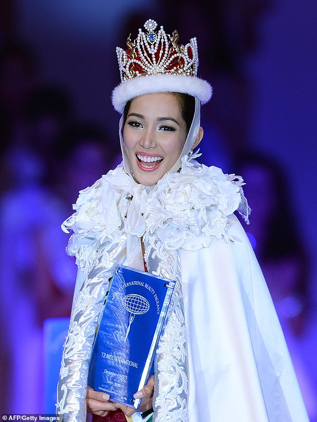 Santiago  beat 66 other contestants to win Miss International 2013, a beauty pageant held in Tokyo, Japan. Pictured: Santiago  smiles after winning the Miss International 2013