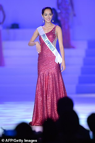 Doctors in the Philippines diagnosed her with CKD in August. Pictured: Santiago competing in Miss International 2013