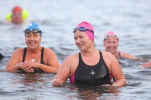 Dee McGettigan taking a dip. Photo: Lorcan Doherty