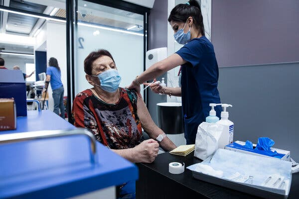 Receiving a third dose of the Pfizer-BioNTech vaccine at Sheba Medical Center in Ramat Gan, Israel, earlier this month.